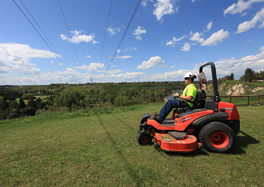 Power line grass mowing